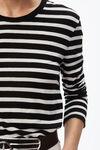宽条纹长袖T恤